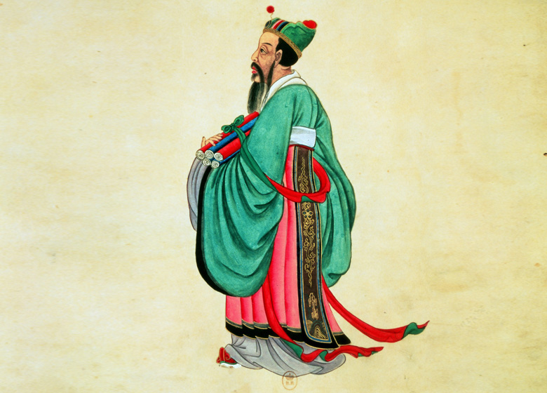 Portrait of Confucius (c.551-479 BC) (gouache on paper scroll), 17th century Chinese School