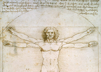 The Proportions of the human figure (after Vitruvius), c.1492 (pen & ink on paper), Leonardo da Vinci (1452-1519) / Galleria dell' Accademia, Venice, Italy