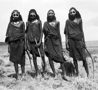 Group portrait of four Maasai youths, standing, carrying bows and blunted arrows, Ngorongoro District, Tanzania, 1961 (b/w photo), Wilfred Patrick Thesiger, (1910-2003) / Pitt Rivers Museum, Oxford, UK