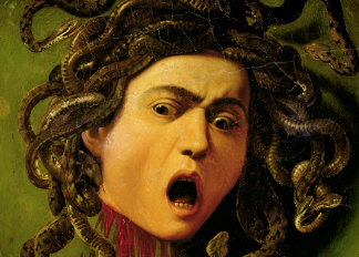 Medusa, painted on a leather jousting shield, c.1596-98 (oil on canvas attached to wood), Caravaggio, Michelangelo Merisi da (1571-1610) / Galleria degli Uffizi, Florence, Italy
