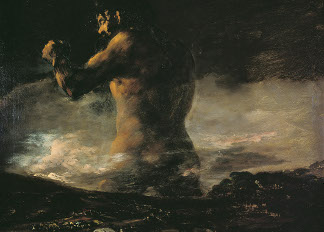 The Colossus, c.1808 (oil on canvas), Francisco Jose de Goya y Lucientes (1746-1828)(follower of) / Prado, Madrid, Spain
