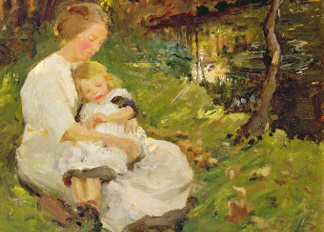 Mother and Child in a Wooded Landscape, 1913, Harold Harvey (1874-1941) / Private Collection / © Gavin Graham Gallery, London, UK