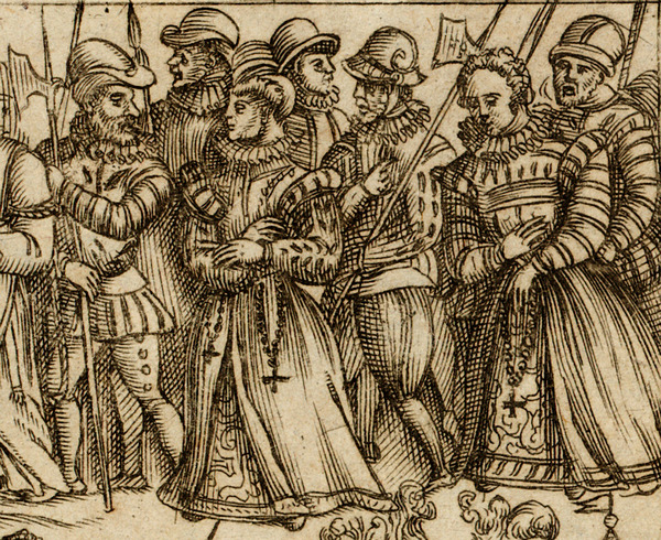 English Catholic women arrested for possessing rosary beads, from 'Martyrology of Campion' by Richard Verstegan, 1582, By permission of the Governors of Stonyhurst College / Bridgeman Images