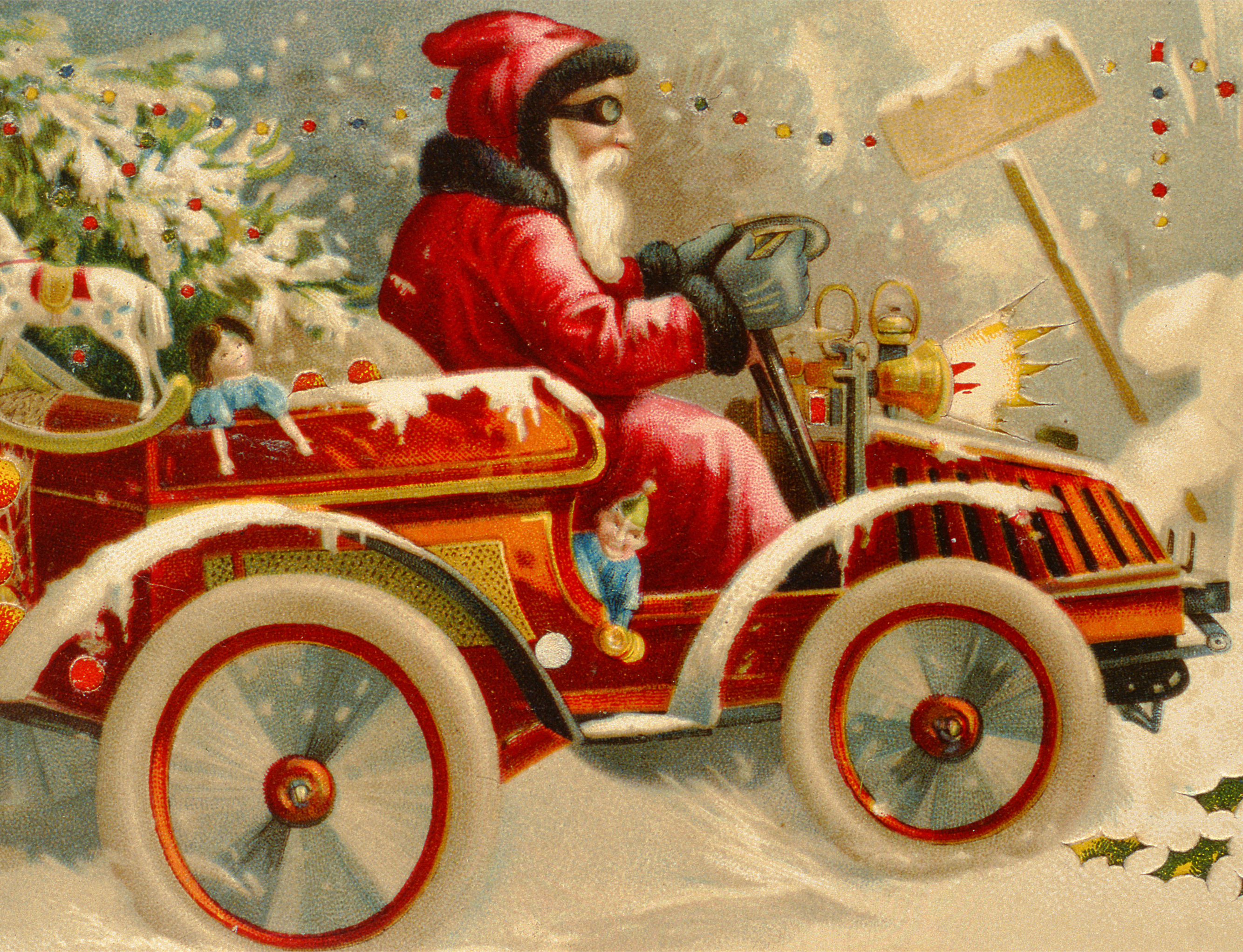 Winter Motoring, Victorian postcard / Private Collection / Bridgeman Images