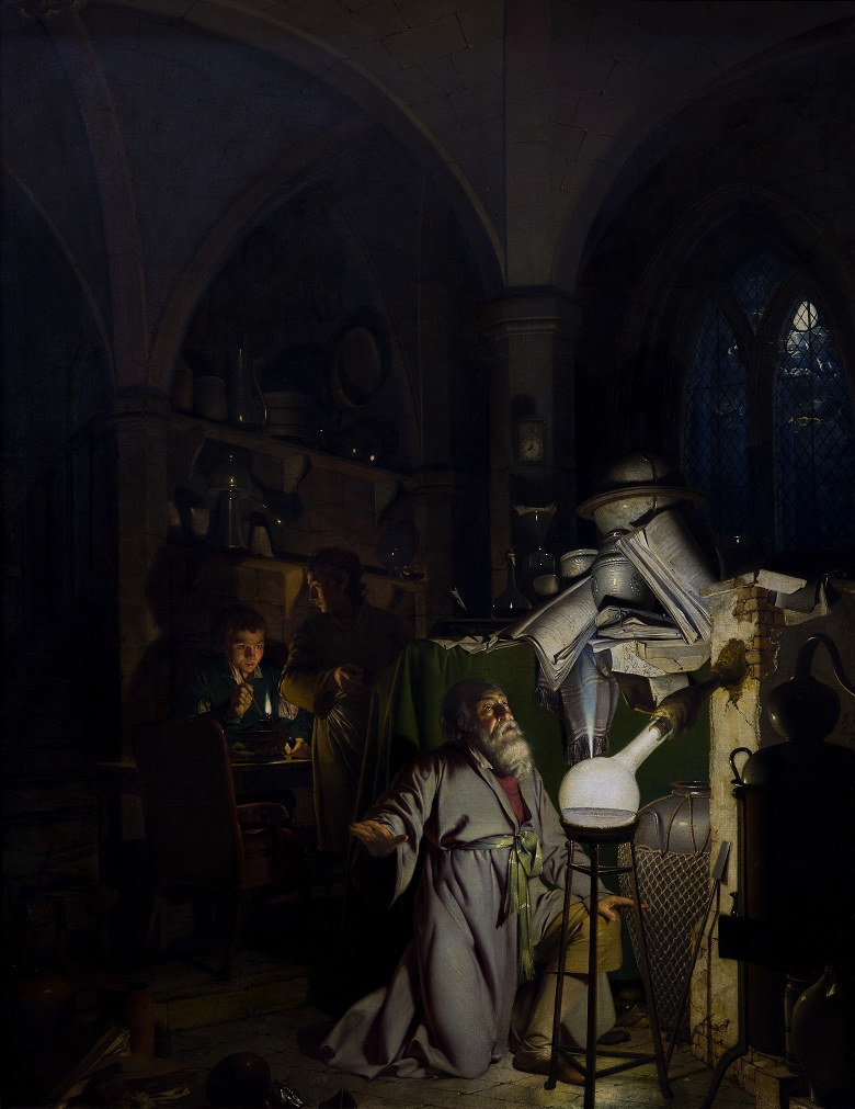 The Alchymist, 1771 (oil on canvas) by Joseph Wright of Derby (1734-97) / Derby Museum and Art Gallery, UK