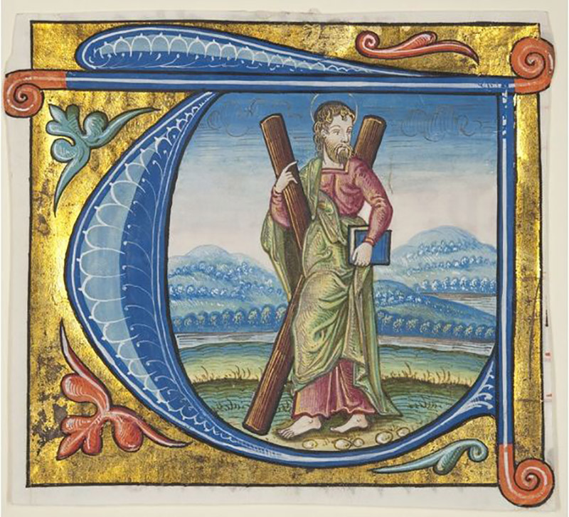 Historiated initial 'T' depicting St Andrew, excised from a missal / The University of St. Andrews, Scotland, UK / Bridgeman Images