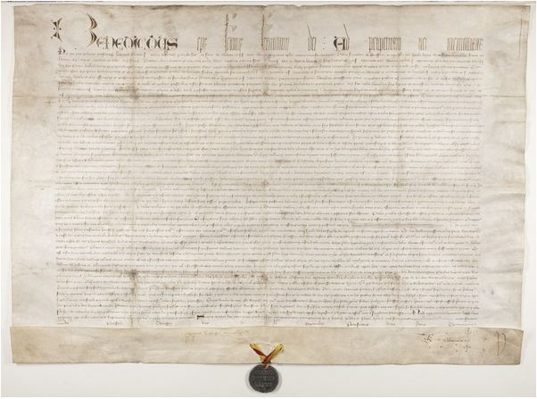 Papal Bull confirming charter of Bishop Henry Wardlaw, recto, 1413 (ink on vellum with metal pendant) / The University of St. Andrews, Scotland, UK / Bridgeman Images