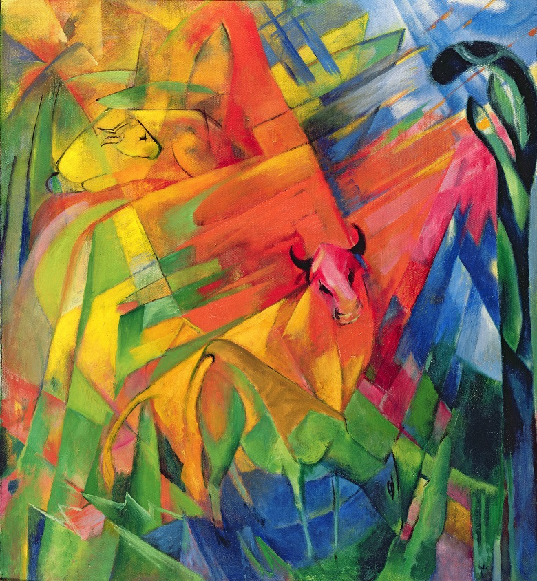 Animals in a Landscape, 1914 (oil on canvas), Franz Marc (1880-1916) / Detroit Institute of Arts, USA