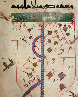 The Indus (vellum) by Al Istakhri (Al-Estakhri) 10th century / Egyptian National Library, Cairo/ Giraudon