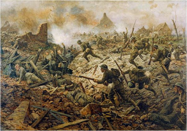 The Territorials at Pozieres on 23rd July 1916, 1917, William Barnes Wollen / National Army Museum, London / Bridgeman Images