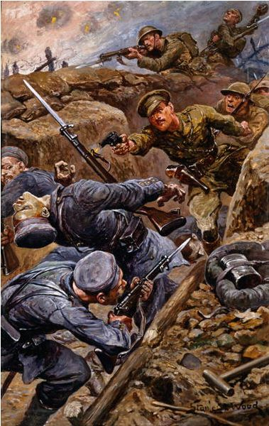 Captain Reginald James Young winning the Military Cross at the Battle of the Somme, 1916, Stanley L. Wood / National Army Museum, London / Bridgeman Images