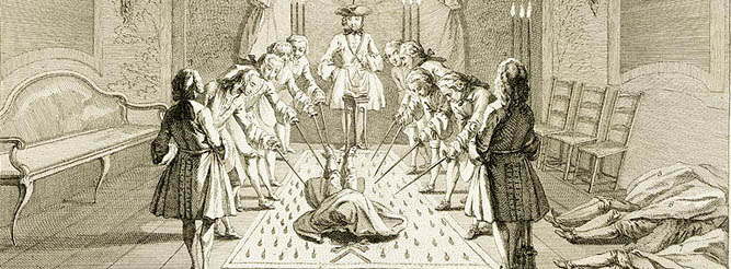 Assembly of Free Masons for the Initiation of a Master, from 'The Ceremonies of Religion & Custom', c.1733 Stapleton Collection