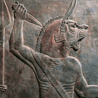 Detail of a relief depicting figure of guardian lion, from ancient Nineveh, Iraq / De Agostini Picture Library