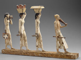 Procession of offering bearers, from Tomb 10 (Djehutynakht), Shaft A, Deir el-Bersha, Middle Kingdom by Egyptian, Middle Kingdom (2040-1640 BC) Museum of Fine Arts, Boston