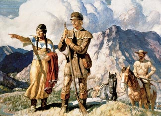 PNP246194 Sacagawea with Lewis and Clark during their expedition of 1804-06 by Newell Convers Wyeth (1882-1945), Private Collection/ Peter Newark American Pictures