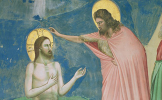 ALI169546 The Baptism of Christ, detail, 1303-05 (fresco) by Giotto di Bondone from the Scrovegni Chapel, Padua, Italy/ Alinari