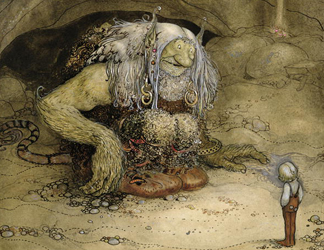 SNM185781 The Troll and the Boy (w/c on paper) by Bauer, John (1882-1918)/ Nationalmuseum