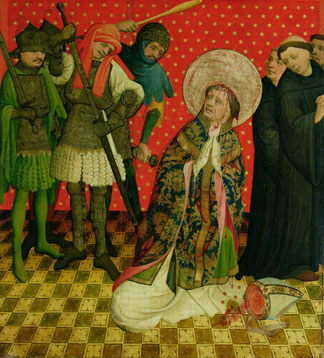 The Martyrdom of St. Thomas of Canterbury, panel from the St. Thomas Altar from St. John's Church, Hamburg, begun in 1424. Master Francke (c.1385-c.1436) / Hamburger Kunsthalle, Hamburg, Germany