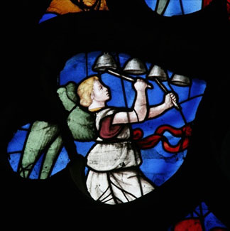 Musical Angel (stained glass), French School, (16th century) / Cathedral of St. Etienne, Sens, France