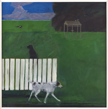 Dogs and magpies in a garden, 1974 / Private Collection / Browse and Darby, London / Bridgeman Images