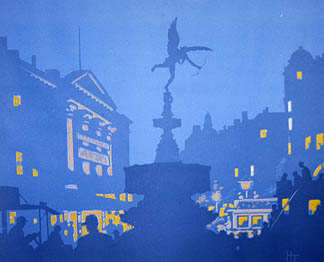 Piccadilly Circus (colour woodcut) by John Hall Thorpe (1874-1947) Private Collection/ Michael Parkin Gallery