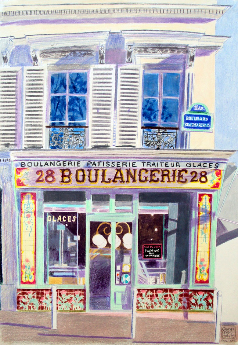 Boulangerie, 1992 (coloured pencil)