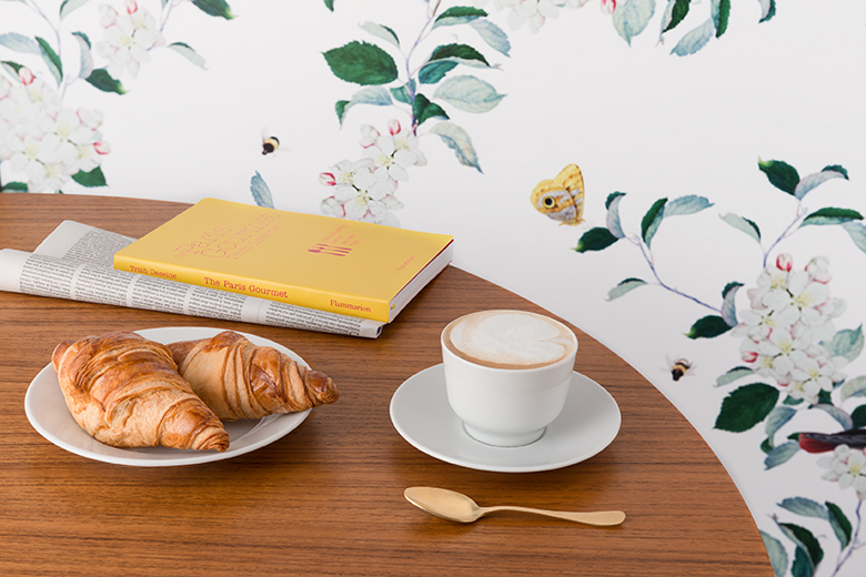 Les Pommes cappuccino & brioche Italian breakfast with Bridgeman Images background panel - © Les Pommes 2015