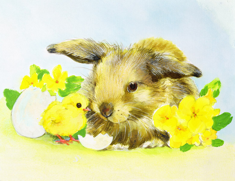Easter bunny with primrose and chick by Diane Matthes (Contemporary Artist) / Bridgeman Images
