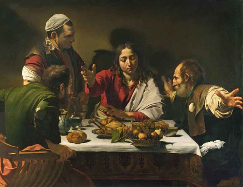 The Supper at Emmaus, 1601 (oil and tempera on canvas), Michelangelo Merisi da Caravaggio (1571-1610) / National Gallery, London, UK