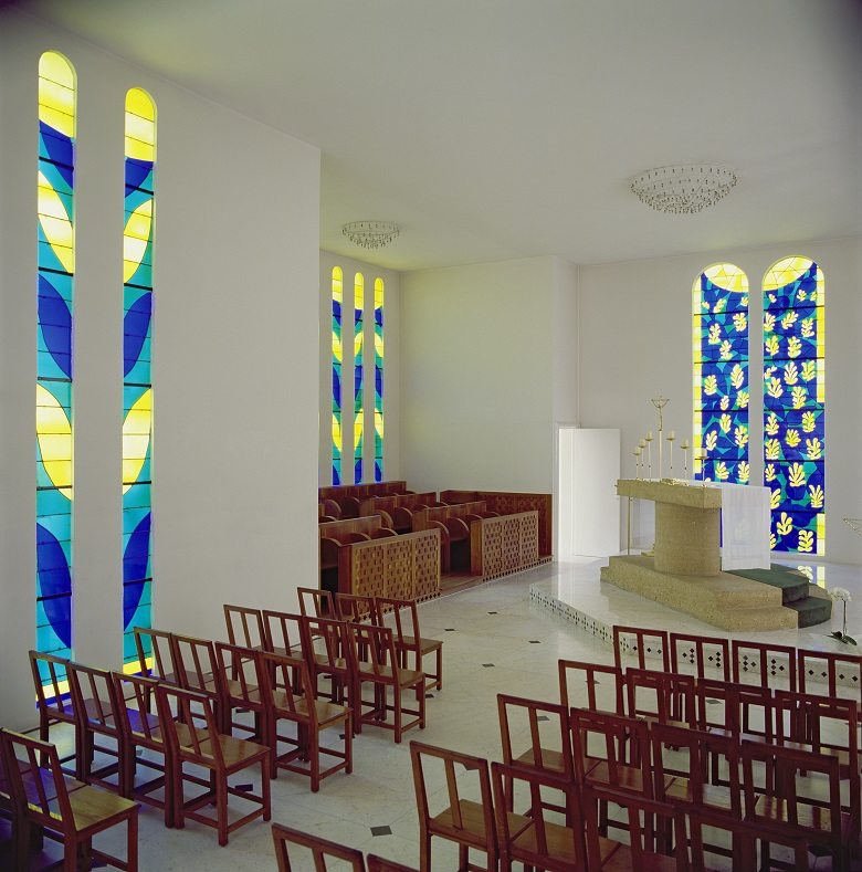 General View of the Interior of the Chapel of the Rosary, Vence, 1948-51 (mixed media), Henri  Matisse (1869-1954)