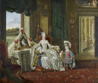 Queen Charlotte with her two eldest sons, c.1765 by Johann Zoffany/ The Royal Collection © Her Majesty Queen Elizabeth II