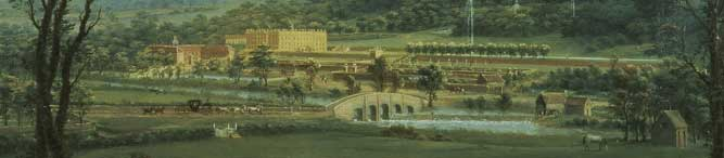 A view of Chatsworth from the south-west by Thomas Smith of Derby (c.1720-67) Chatsworth House, Derbyshire, UK © Devonshire Collection