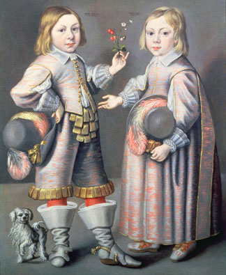 A Portrait of a Boy aged Four and a Girl aged three with a Small Dog by Hendrick Munnichhoven (c.1630-64)