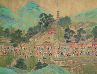 BL14906 Emperor Kang Shi's tour of Kiang-Han in 1699, after Chaio Ping Chen (1661-1722) (ink & colour on silk backed paper) by Qing Dynasty Chinese School (1644-1912)</BR>British Library, London, UK