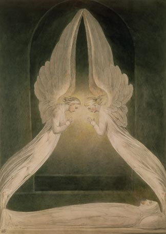 Christ in the Sepulchre, Guarded by Angels by Blake, William (1757-1827) Victoria & Albert Museum, London, UK