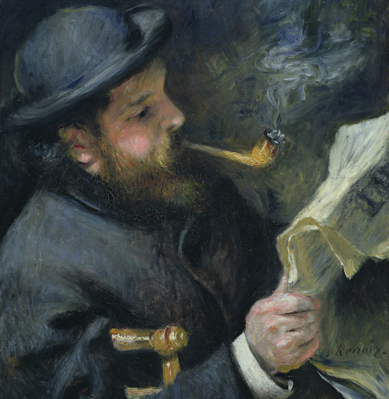 Claude Monet (1840-1926) reading a newspaper, 1872 (oil on canvas), Pierre Auguste Renoir (1841-1919)/ Bridgeman Images