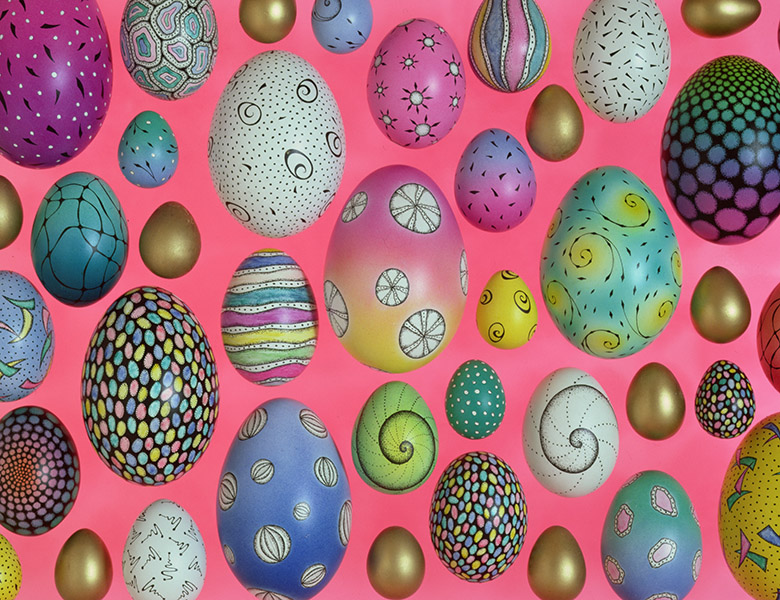 Painted eggs, Cathy Usiskin / Private Collection / Bridgeman Images