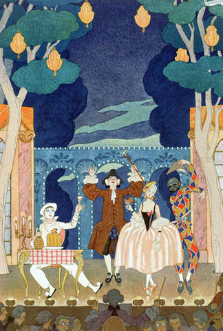 Pantomime Stage, illustration for 'Fetes Galantes' by Paul Verlaine (1844-96) 1924 (pochoir print) by Georges Barbier (1882-1932) (after) / Private Collection / The Stapleton Collection