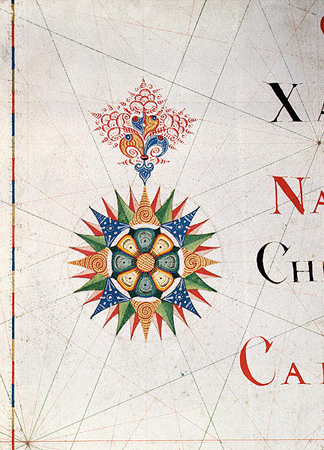 Compass Rose from a navigational chart (detail) / National Maritime Museum, London, UK