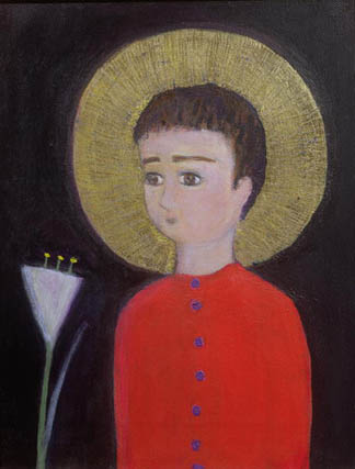 Boy with Lily, 2002 (acrylic and gold leaf on canvas) by Roya Salari (Contemporary Artist)