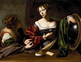 DTR360894 Martha and Mary Magdalene, c. 1598 (oil & tempera on canvas)/ Detroit Institute of Arts, USA