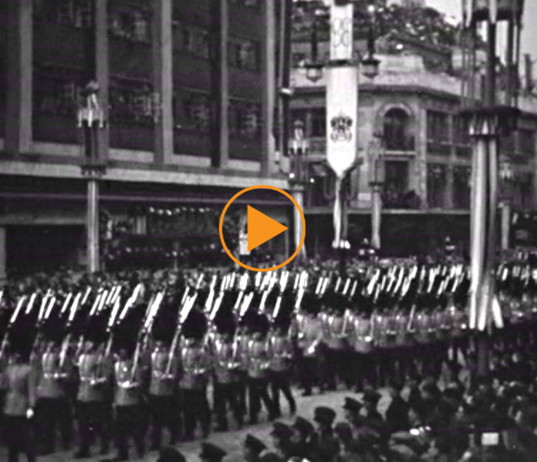 Military parade on day of King George VI's coronation, 12th may 1937 / Devitt Films / Bridgeman Footage