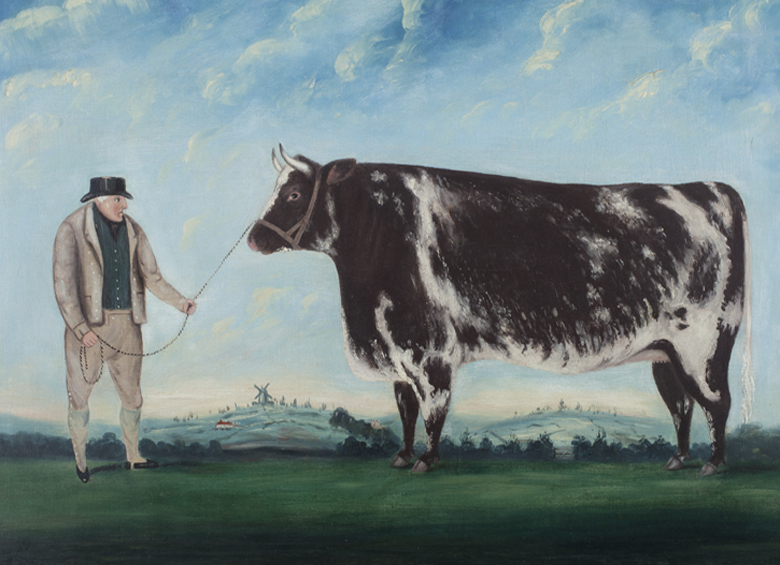 A Farmer and His Prize Heifer, c.1844 (oil on canvas), British School, (19th century) / Compton Verney, Warwickshire, UK