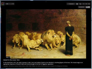 Screenshot supplied by Immersion Digital / WGL165985 Daniel in the Lions' Den, 1872 (oil on canvas) by Riviere, Briton (1840-1920)/ Walker Art Gallery, National Museums Liverpool