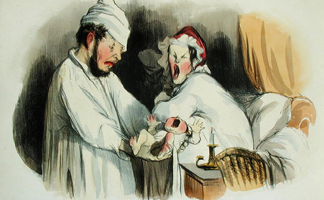 CHT236095 Parents woken by their baby (colour litho) by Honore Daumier/ Bibliotheque des Arts Decoratifs, Paris, France/ Archives Charmet