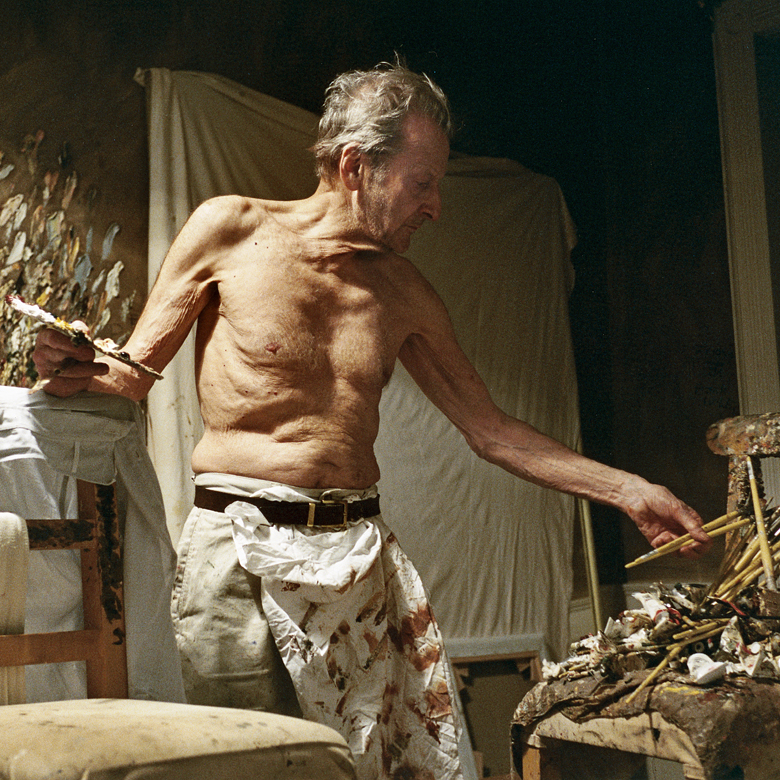 Working at Night, 2005 (photo) by David Dawson/ Private Collection (studio assistant to Lucian Freud)
