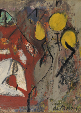 (detail) Interior, 1945-46 (oil on paper on canvas) by Willem de Kooning/ Israel Museum, Jerusalem / DACS