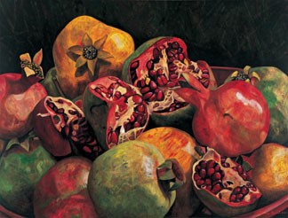 Pomegranates from Chabela, 2007 (oil on linen) by Pedro Diego Alvarado  (Contemporary Artist) Private Collection