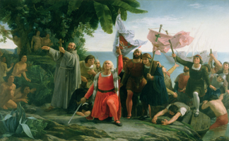 XJL186948 The first landing of Christopher Columbus (1450-1506) in America, 1862 by Dioscoro Teofilo de la Puebla Tolin (1832-1901), Ayuntamiento de Caruna, Spain
