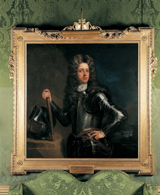 Portrait of the 1st Duke of Marlborough hanging in the Green Writing Room at Blenheim Palace